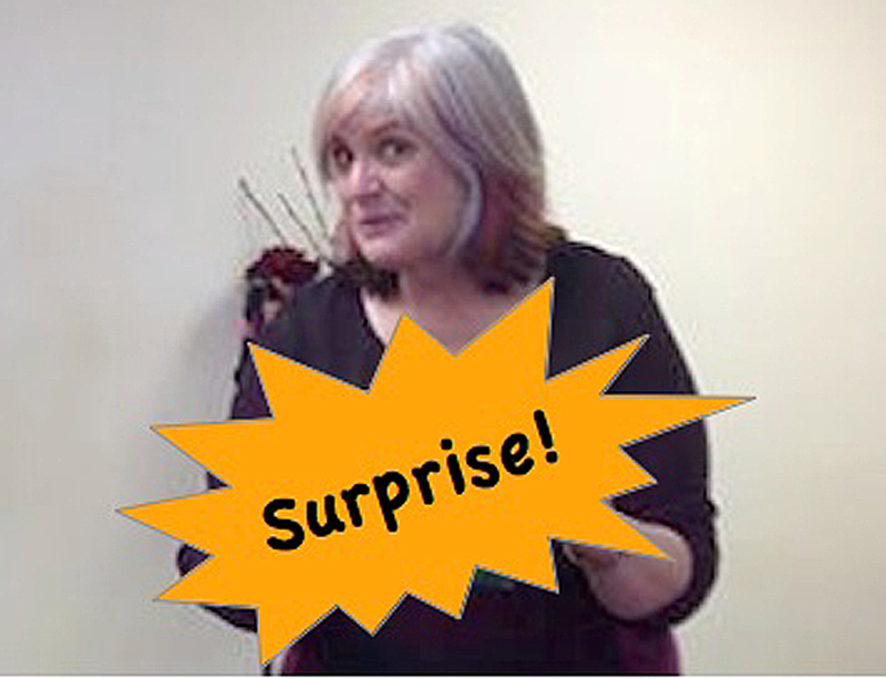 Christi Corradi with surprise